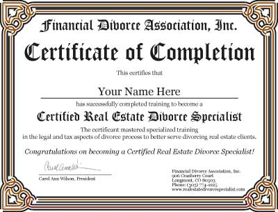 Certification as a Real Estate Divorce Specialist